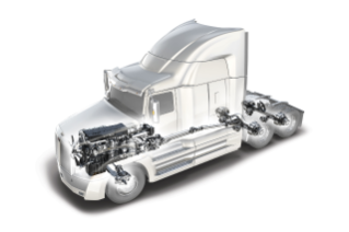 The Detroit DT12 transmission will be standard on the Western Star 5700XE, also available are the Detroit DD13, DD15, and DD16 engines as well as Detroit axles.