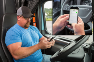 A driver can link to the Detroit Connect platform from an in-cab mobile device