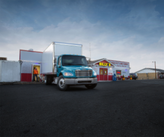 The Freightliner M2 106 powered by a Detroit DD5 engine is ideal for pick-up and delivery applications