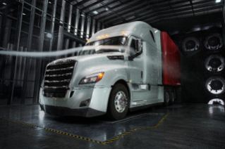 "Freightliner Cascadia 126 bbc 72"" Raised Roof Sleeper Cab undergoing aerodynamic testing in DTNA's proprietary wind tunnel"