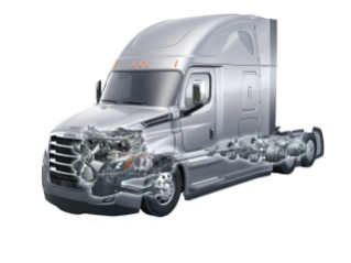 The highly efficent integrated Detroit powertain (with downsped rated DD15-DD13, DT12, Detroit steer axle and high speed Detroit tandem axle) powers the Cascadia